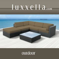 Luxxella Outdoor Patio Wicker BERUNI Taupe Sofa Sectional Furniture 6pc All Weather Couch Set All Weather Furniture #patiofurniture #wickerfurniture #Outdoorwicker