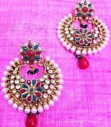 Buy Bold Maroon Green Pearl Polki Flower Earring ,Ethnic Indian Women Jewelry v574 danglers-drop online