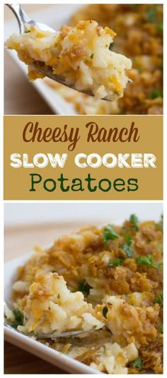 The most amazing Cheesy Ranch Potatoes you will ever try.straight out of your crock pot! Don't miss out on these Slow Cooker Cheesy Ranch Potatoes! Slow Cooker Potatoes, Crock Pot Potatoes, Crock Pot Slow Cooker, Crock Pot Cooking, Slow Cooker Recipes, Crockpot Recipes, Cooking Recipes, Healthy Recipes, Baked Potatoes