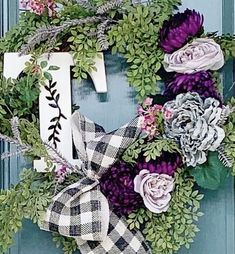 Initial Door Wreaths, Initials, Floral Wreath, Home Decor, Floral Crown, Decoration Home, Room Decor, Home Interior Design, Flower Crowns