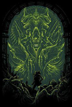 Dan Mumford – Both Sides Art Show at Gallery 1988 Alien Vs Predator, Predator Art, Alien Film, Art Alien, Dark Fantasy Art, Arte Horror, Horror Art, Horror Movies, Horror Film