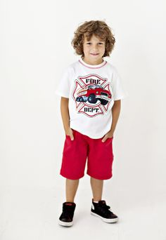 Comfy cargo shorts and a T-shirt from Gnu Brand Boy that capture the energy of a racing fire truck. www.gnubrand.com