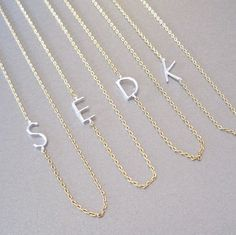 Gold Necklace with Silver Initial by tangerinejewelryshop on Etsy