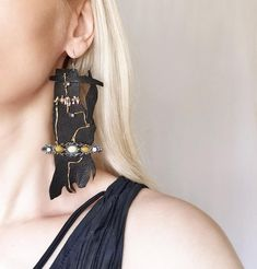 Statement Earrings, Drop Earrings, Hand Shapes, Etsy Crafts, Leather Earrings, Handmade Jewelry, Etsy Jewelry, Handmade Items, Great Gifts