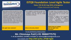 ISTQB Foundation Level Agile Tester Dates : 5th & 6th Aug 2016 @ Bangalore WebURL : www.bit.ly/kw_ISTQB-Agile Contact : Chinmaya S Patil ( 9886077575 )