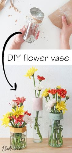 Make DIY flower vases recycling glass jar and bottle. It's a simple DIY,  perfect to display your favorite flowers and to use as a centerpiece.  #diy #flower #vase #pots #bottle #jar #glass #concrete #home #decor  #ideas #crafts #floral #arrangements #recycle #mothesday #creative  #centerpieces #tutorials