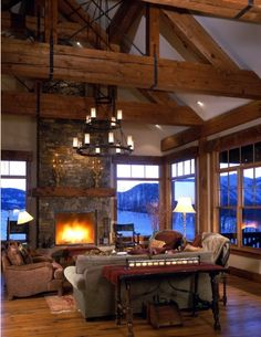 Timberframe mountain home with a lot of great windows!