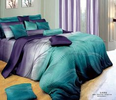 500TC abstract design purple blue pink omber discount cotton bed linen 3D bedding set duvet cover for full/queen comforter quilt-in Bedding ...