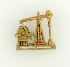 Very Old Vintage 14k Gold 585 Oil Derrick Rig Pump Moving Charm Pendant Texas   eBay..