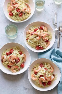 Creamy Goat Cheese and Shrimp Pasta from www.whatsgabycooking.com (@whatsgabycookin)