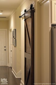 Pantry sliding door with Classic Flat Track by Real Sliding Hardware.