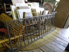 7ft Long Rod Iron Railing with Brass Top Covering.    *This piece came from a private catholic boys school in philly.  #thepointbarnantiques