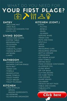 What do You Actually Need for Your First Apartment? 2019 New Apartment Checkli… – 2019 - Apartment Diy New Apartment Checklist, First Apartment Checklist, First Apartment Essentials, Apartment Goals, Apartment Design, Apartment Ideas, First Apartment Decorating, Cool Apartments, Apartment Furniture