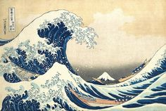 I always love these japanese prints- Hokusai was one of the greatest ukiyo-e painters, known especially for the Thirty-six Views of Mount Fuji series. One of the best known ukiyo-e paintings, The Great Wave off Kanagawa, is part of this series. Japanese Wave Painting, Japanese Waves, Japanese Prints, Japanese Style, Japanese Artwork, Vintage Japanese, Japanese Poster, Japanese Drawings, Japanese Aesthetic