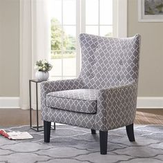 """Madison Park Carissa Shelter Wing Chair - Multi - 29.92W x 30.71D x 42.13H"""" Madison Park"""