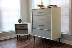 White dxterior, gray drawers, same rockin knobs. .. . example. . .Mid Century Dresser Set. $780.00, via Etsy.