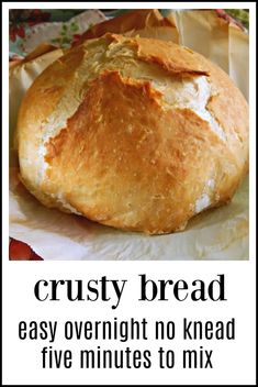 "No-Knead Overnight Crusty Bread: It couldn't be easier or more ""hands off."" 5 mi… No-Knead Overnight Crusty Bread: It couldn't be easier or more ""hands off."" 5 minutes to mix up, toss in the oven the next day. You'll look like a genius! Artisan Bread Recipes, Bread Machine Recipes, Recipes With Bread Mix, Italian Bread Recipes, Yeast Bread Recipes, No Knead Bread, No Yeast Bread, Yeast Free Breads, Easy Bread"