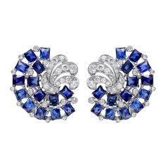 Sapphire and diamond earclips in platinum. Art Deco Earrings, Art Deco Jewelry, High Jewelry, Luxury Jewelry, Women's Earrings, Vintage Jewelry, Jewelry Accessories, Jewelry Design, Sapphire Jewelry
