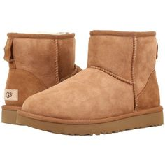 UGG Classic Mini II (Chestnut) Women's Boots ($140) ❤ liked on Polyvore featuring shoes, boots, ankle boots, platform ankle boots, low-heel boots, water resistant boots and fur lined shoes