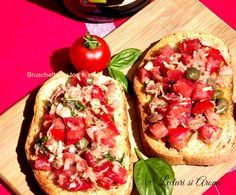 bruschette cu ton si rosii Tasty, Yummy Food, Bruschetta, Vegetable Pizza, Goodies, Food And Drink, Cooking Recipes, Mexican, Meals