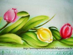 Pintura em Tecido Flores Copos de Leite