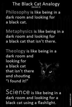 The black cat analogy. The Black Cat Analogy dark room and looking for e black cat, taa. gfbtgts is like being in e dark room and looking for a black cat that Atheist Humor, Atheist Quotes, Qoutes, Religion Frases, Schrodingers Cat, Pseudo Science, Science Fun, Thought Provoking, Decir No