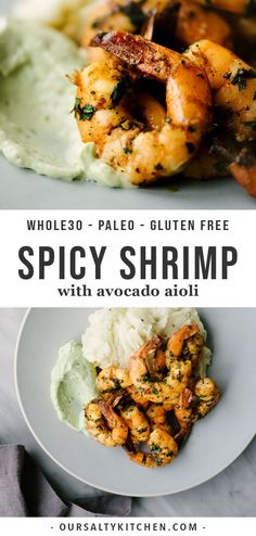paleo spicy shrimp is an easy and fast weeknight dinner recipe. The shrimp are hot and tangy, and pair so well with tart, creamy avocado aioli. This tasty paleo shrimp recipe is perfect for January - or any other night! Aioli, Healthy Dinner Recipes, Paleo Recipes, Paleo Food, Whole30 Shrimp Recipes, Spicy Shrimp Recipes, Shrimp Recipes For Dinner, Fast Recipes, Turkey Recipes
