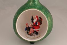 Santa Gourd Scene, Holiday Decoration, Glittery Christmas Gourd Decoration - pinned by pin4etsy.com