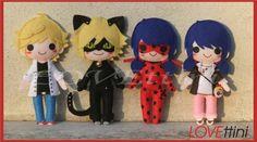 Miraculous Ladybug ミラクルス・レディバグ Adrien , Chat noir ,Lady bug and Marinette Miraculous Ladybug Chat Noir, Miraculous Ladybug Party, Felt Crafts Patterns, Doll Patterns, Lady Bug, Ladybug Und Cat Noir, Ladybug Crafts, Anime Crafts, Anime Diys