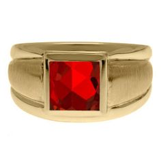 Yellow Gold Men's Square Ruby Ring Gemologica.com offers a unique selection of mens gemstone and birthstone rings crafted in sterling silver and 10K, 14K and 18K yellow, white and rose gold. We have cool styles including wedding and engagement rings, fashion rings, designer rings, simple stone and promise rings. Our complete jewelry collection of gemstone rings for men can be seen here: www.gemologica.com/mens-gemstone-rings-c-28_46_64.html
