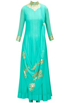 Turquoise foil work draped anarkali set available only at Pernia's Pop-Up Shop.