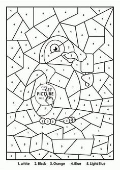 Color by Number Clown coloring page for kids, education