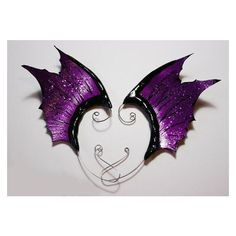 Purple Black ear wings- gothic dark fairy or dragon fin costume ear... ❤ liked on Polyvore featuring costumes, fairy wing costume, gothic costumes, goth costume, purple dragon costume and purple halloween costumes