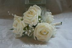 LADIES MOTHER OF THE BRIDE CORSAGE IVORY OPEN ROSE CRYSTAL, DIAMANTE  PEARL | eBay