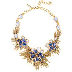 Rental Oscar de la Renta Wild Flower Necklace ($145) ❤ liked on Polyvore featuring jewelry, necklaces, gold, blue flower necklace, flower necklace, blossom jewelry, long necklace and oscar de la renta jewelry