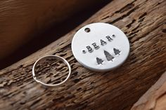 Hand Stamped Personalised Custom Brass Copper or Aluminium  Pet Tag Dog Design Pet/'s name on Bottom Edge /& Mobile on Back Newsprint