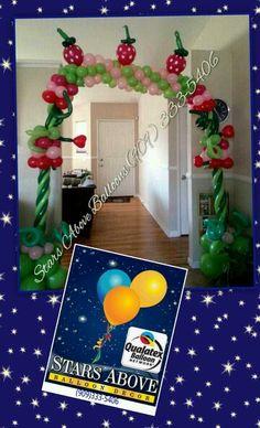 Strawberry patch balloon birthday