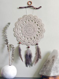 Large Beige Dream catcher Crochet Dream Catcher Crochet Doily Boho Style Wall…