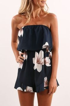Beautiful simple off the shoulder navy romper with large floral print. Spring 2017 fashion trends. Summer fashion. Resort Fashion...   Street Fashion