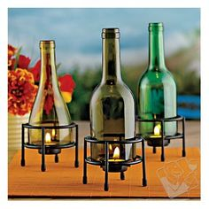 Wine bottle craft - candle holders!