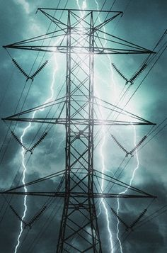 lightning striking transmission tower.