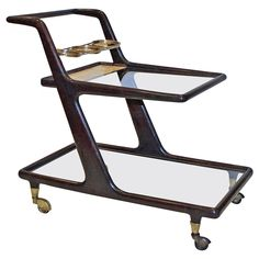Cesare Lacca Style Italian Moderne Bar Cart | From a unique collection of antique and modern bar carts at https://www.1stdibs.com/furniture/tables/bar-carts/