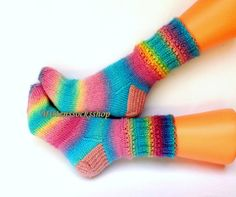 Hand knitted warm socks from rainbow color batic yarn Multicolor original bright elegant stylish accessories for a girl or woman (size S-M)