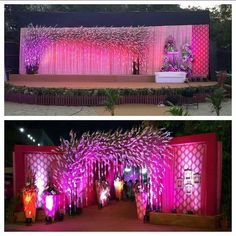 "Amaraay : The Event Diaries ""Dry tree decor with the touch of royal orchid stems, hangings tessels and similar theme decor. Wedding Reception Entrance, Wedding Hall Decorations, Marriage Decoration, Wedding Mandap, Wedding Themes, Flower Decorations, Wedding Events, Wedding Ideas, Wedding Blog"