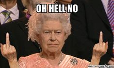 Here's a hilarious gif of Queen Elizabeth II giving the middle fingers to us all! The pictures is from the 2012 Olympics opening ceremonies in London, the image used in this gif has become quite infamous and is part of […] Funny Videos, Middle Finger Gif, Finger Finger, Beste Gif, Funny Jokes, Hilarious, Fun Funny, Bye Felicia, Queen Of England