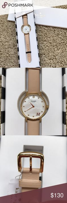 """NWT kate spade """"M"""" watch Never worn, NWT. Nude leather watch band with mother of pearl face, with an """"M"""" at the 5 o'clock. I hate to get rid of it but it's just sitting in my jewelry box because I wear an Apple Watch. Great gift for mother's day or any occasion. Smoke free home kate spade Accessories Watches"""