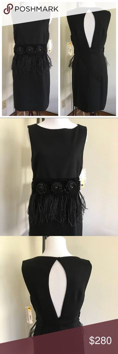 New Alice + Olivia Black Floral and Feather Dress Ostrich feathers! ⚜️I love receiving offers through the offer button!⚜️ brand new, as seen in pictures! Fast same or next day shipping!📨 Open to offers but I don't negotiate in the comments so please use the offer button😊 Check out the rest of my closet for more Adidas, Lululemon, Tory Burch, Sam Edelman, Topshop, Asos, Revolve! Measurements taken laying flat: Waist- 14.5 inches Full Length- 33.5 inches, bust- 15.5 inches Hip- 15.5 inches…