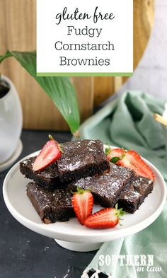 Fudgy Cornstarch Brownies Recipe (Gluten Free) Cornstarch is the secret to flourless fudgy brownies with crisp chewy edges