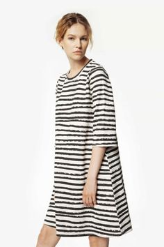 e5f1f60b This oversized distorted striped black & white midi organic dress will take  you from day to night with comfort and ease. It's made of Gots certified  organic ...