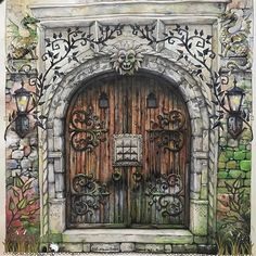 Door Old as Time ☺️. Can't believe I finished this was so engrossed with the details and enjoyed this exercise. This is my second version of door from #enchantedforestcoloringbook  by #johannabasford done in #watercolorpencil #fabercastellwatercolourpencils #coloredpencil #adultcoloringbook #artecomoterapia #divasdasartes #olddoor